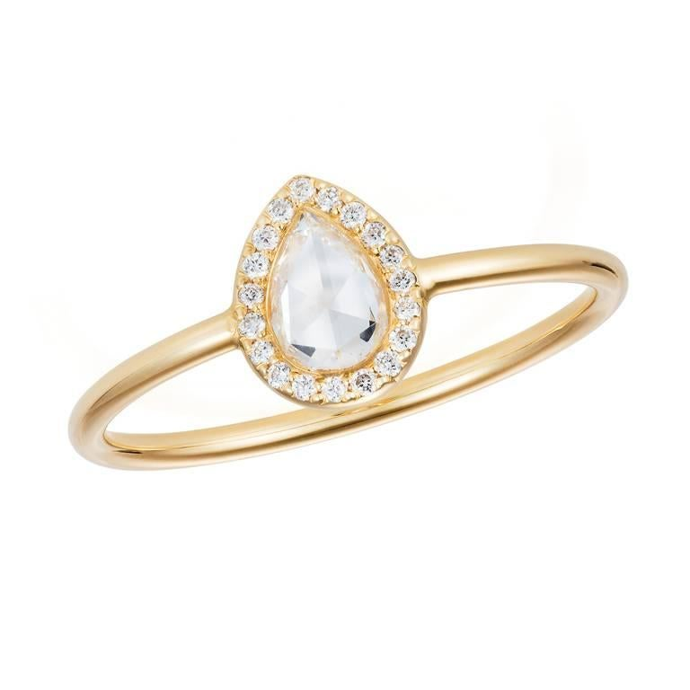Sweet Pea 18k Gold Pear Shaped Rose Cut Diamond Halo Engagement Ring For
