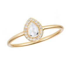 Sweet Pea 18k Gold Pear Shaped, Rose Cut Diamond Halo Engagement Ring