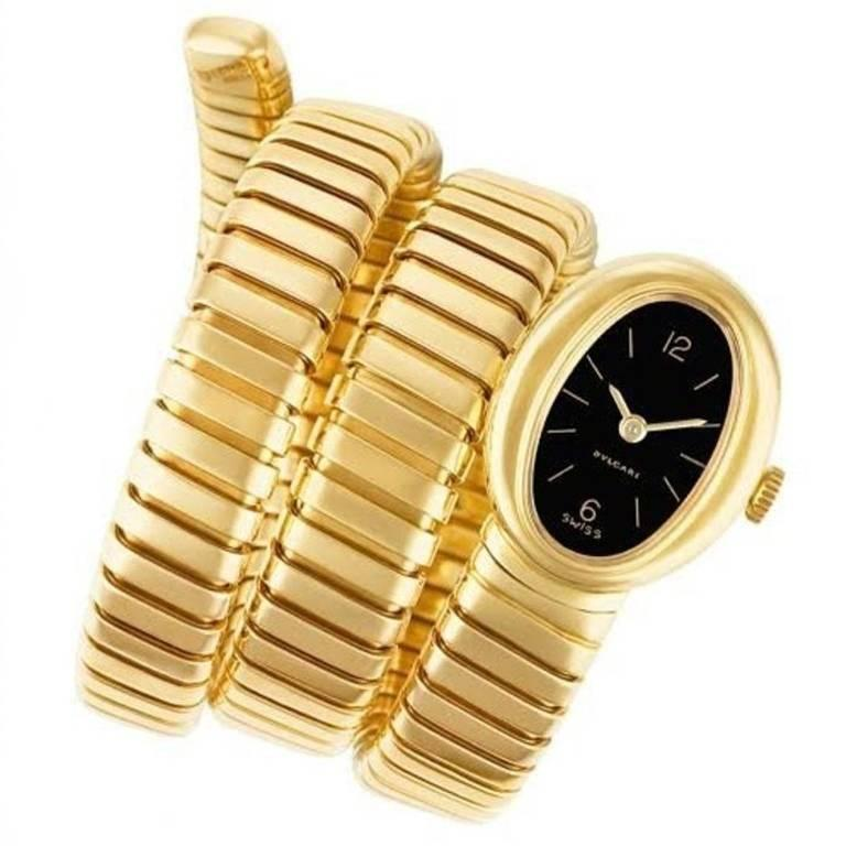 Bulgari Yellow Gold Tubogas Bracelet Wristwatch, 1970s