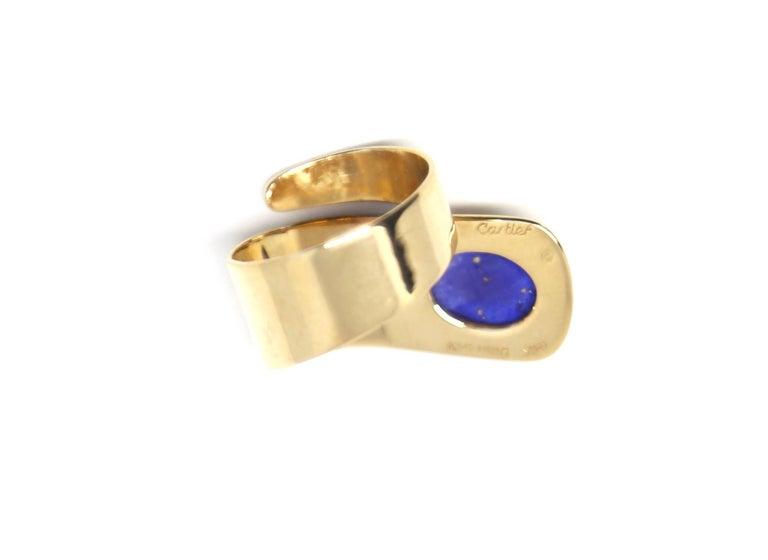 Women's or Men's 1960s Cartier Dinh Van 18 Karat Gold and Lapis Lazuli Modernist Ring For Sale