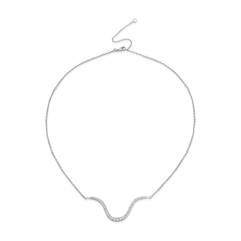 Contemporary  Liv Luttrell Contour White Diamonds and Gold Pendant Necklace  For Sale