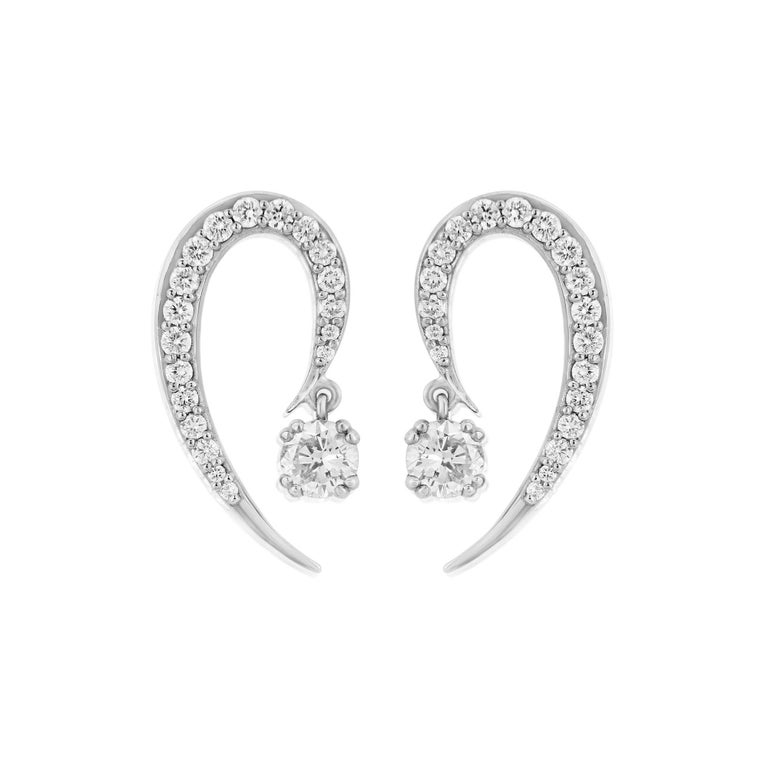 Liv Luttrell Curve White Gold and Diamonds Earrings