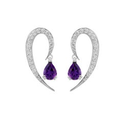 Liv Luttrell Full Curve White Gold and Diamond Amethysts Earrings