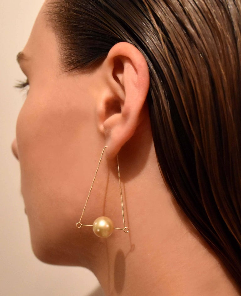 Contemporary Liv Luttrell Golden South Sea Pearl Kinetic Earrings  For Sale