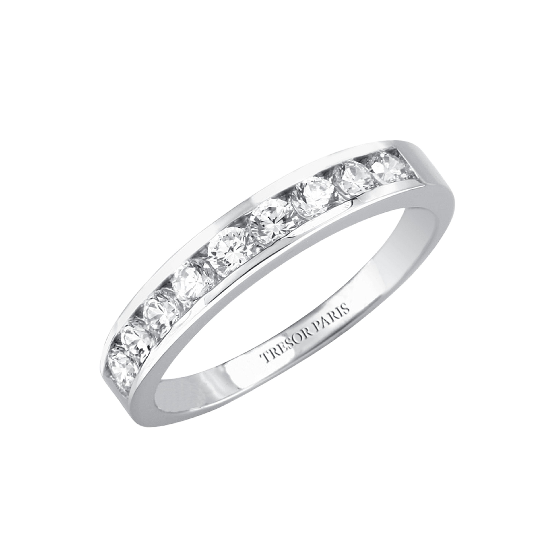 0.25 Carat Round Diamond Channel Set Half Eternity Band Ring 18 Karat White Gold
