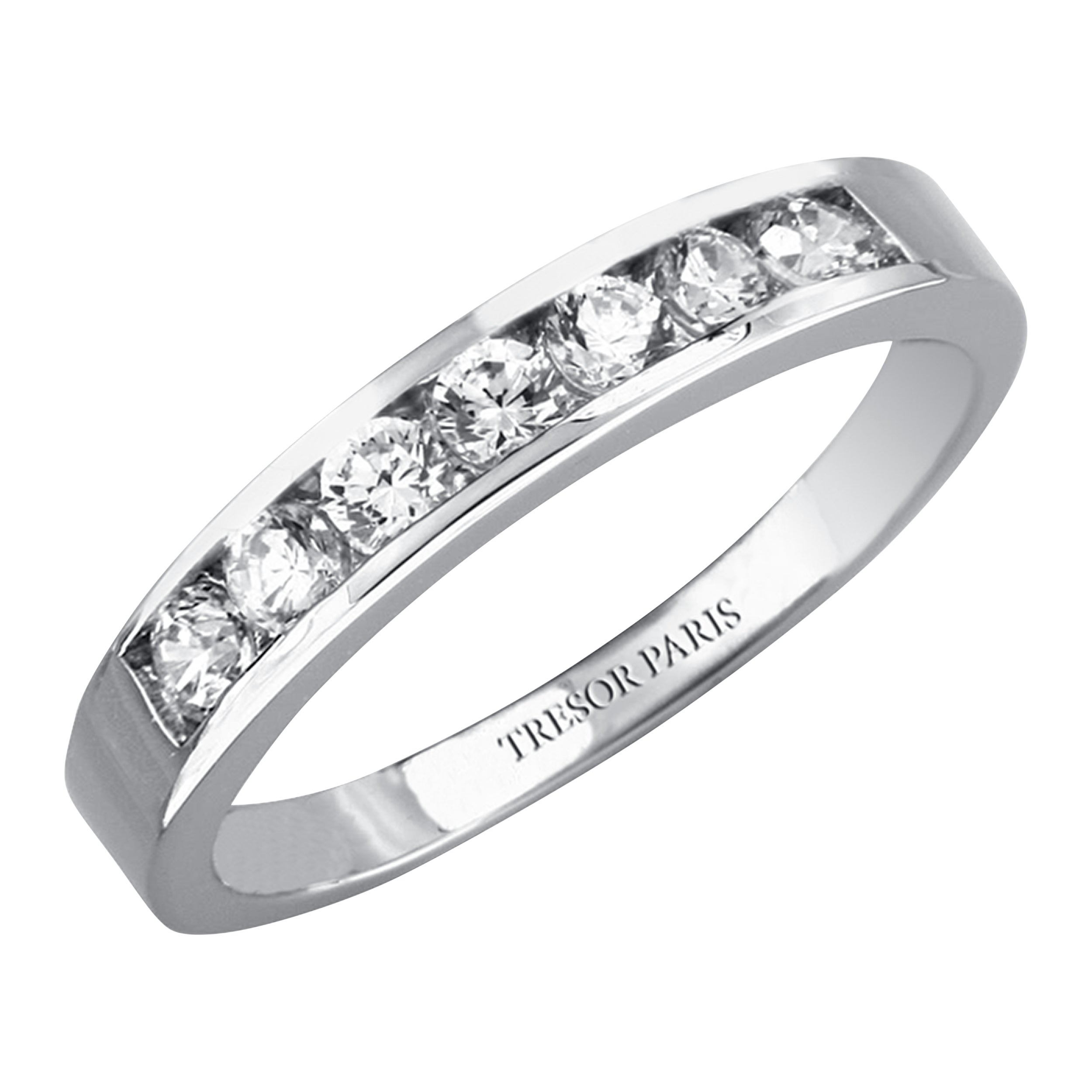 0.75 Carat Round Diamond Channel Set 18 Karat White Gold Half Eternity Band Ring