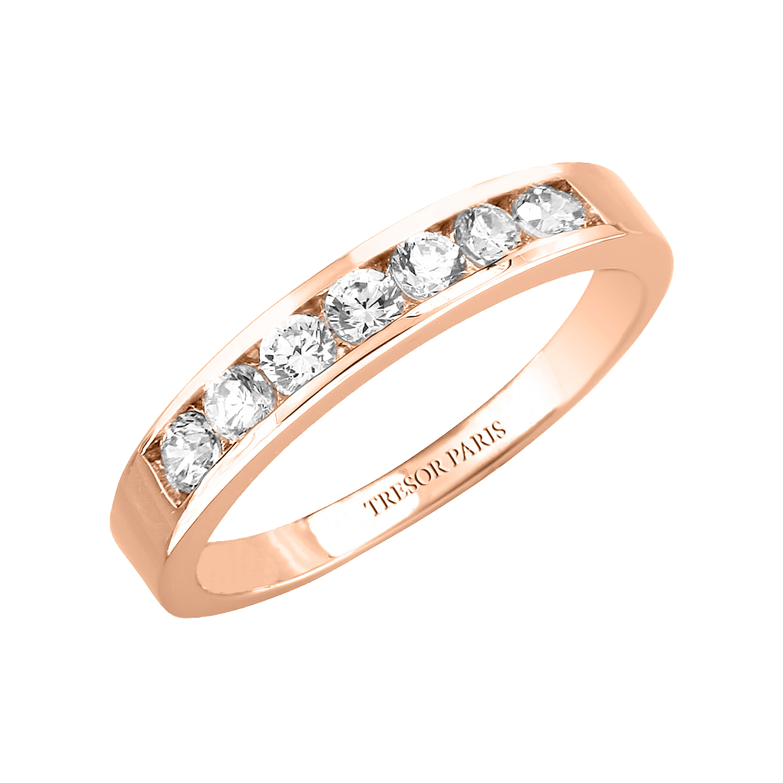 1.50 Carat Diamond Channel Set 18 Karat Rose Gold Half Eternity Band Ring