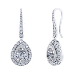 GIA Certified 3.45 Carat Pear Round Brilliant Diamond Drop Platinum Earrings