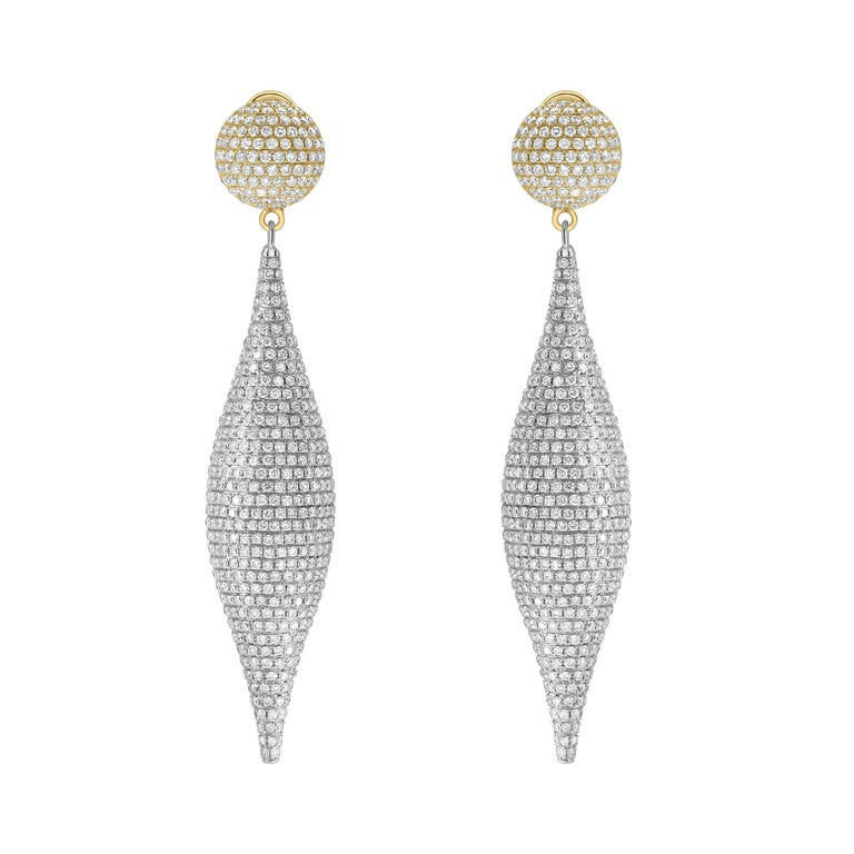 8.00 Carat Round Diamond Pave Set 18Karat White Yellow Gold Drop Tresor Earrings