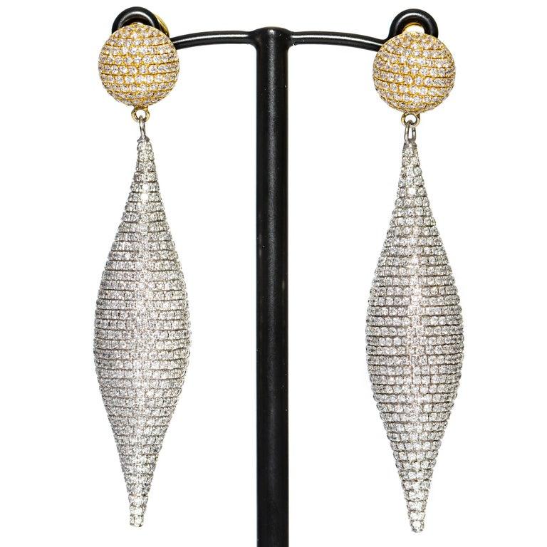 Round Cut 8.00 Carat Round Diamond Pave Set 18Karat White Yellow Gold Drop Tresor Earrings For Sale