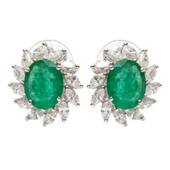 3.50 Carat Green Emerald 1.50 Carat Marquise Shaped 18 KT Gold Diamond Earrings