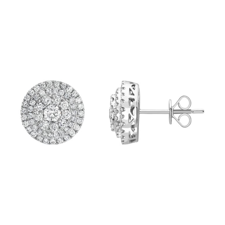 1.50 Carat Round Diamond 18 Karat White Gold Flower Halo Cluster Stud Earrings