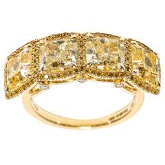 7.16 Carat Fancy Yellow Cushion Round Diamond 18 Karat Gold Halo Ring