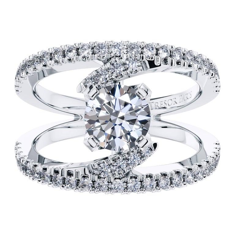 2.65 Carat Round Brilliant Diamond 18 KT White Gold Cross Over Engagement Ring