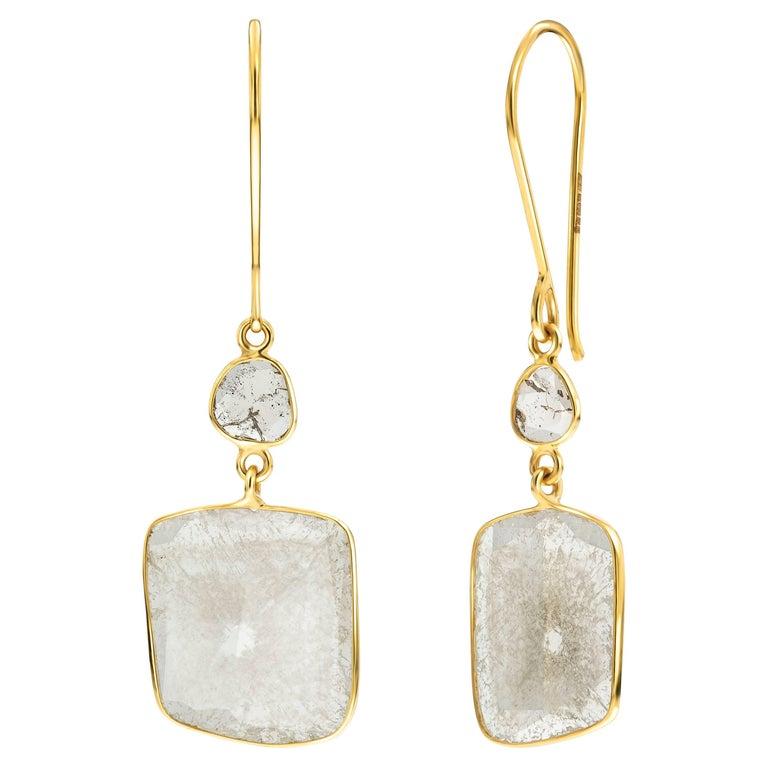 5.75 Carat Rose Cut White Diamond 18 Karat Yellow Gold Tresor Artisan Earrings