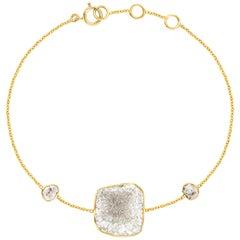 2.38 Carat Rose Cut White Diamond Slice 18 Karat Yellow Gold Artisan Bracelet