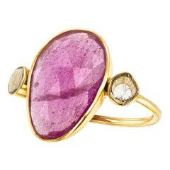 7.10 Carat Rose Cut Ruby Diamond 18 Karat Yellow Gold Tresor Paris Artisan Ring