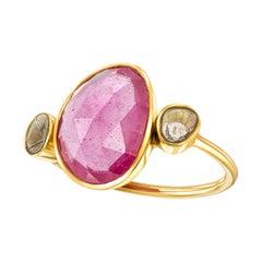 5.75 CT Rose Cut Ruby Diamond  18 KT Yellow Gold Tresor Artisan Collection Ring