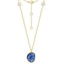 4.60 Carat Blue Sapphire Diamond Rose Cut 18 Karat Yellow Gold Pendant Necklace