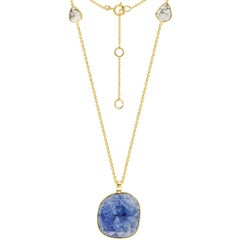 10.82 Carat Rose Cut Blue Sapphire Diamond 18 KT Yellow Gold Pendant Necklace