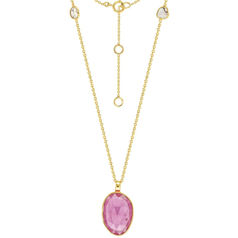 5.92 Carat Ruby Diamond Rose Cut 18 Karat Yellow Gold Tresor Artisan Necklace