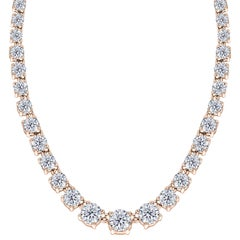 10.00 Carat Riviera Diamond 18 Karat Rose Gold Four Claw Tennis Tresor Necklace