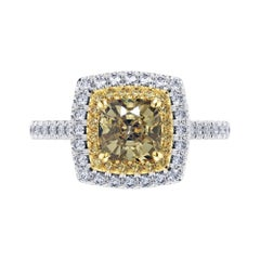 GIA Certified 1.56 Carat Yellow Diamond 18 Karat White Gold Tresor Ring