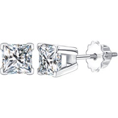 1.50 Carat Princess Cut 18 KT White Gold Solitaire Tresor Diamond Stud Earrings