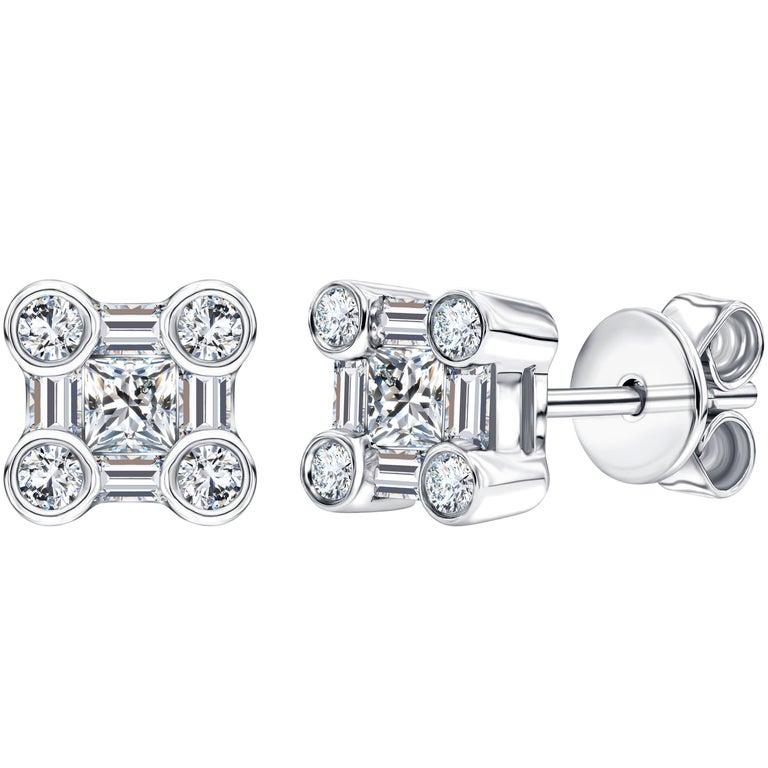 0.50 CT Round Baguette Princess Cut 18KT White Gold Diamond Tresor Stud Earrings