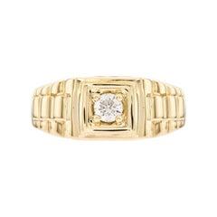 0.25 CT Round White Diamond 18 KT Yellow Gold Tresor Paris Solitaire Signet Ring