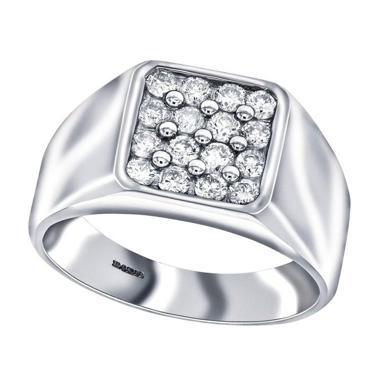 0.50 Carat Round Diamond 18 Karat White Gold Tresor Paris Claw Set Signet Ring