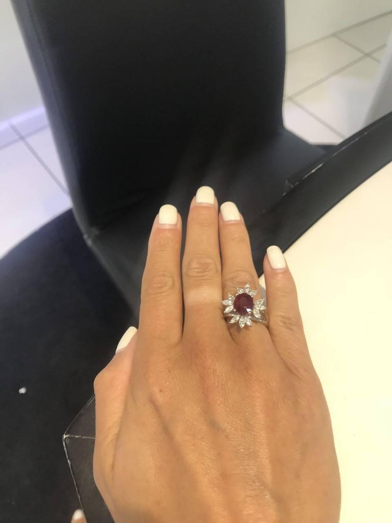 Bespoke White Marquise Diamond 18KT Gold 2.00 Carat Ruby Engagement Ring Mount For Sale 1