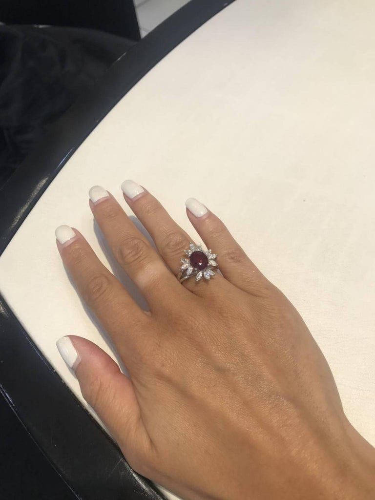 Bespoke White Marquise Diamond 18KT Gold 2.00 Carat Ruby Engagement Ring Mount For Sale 3