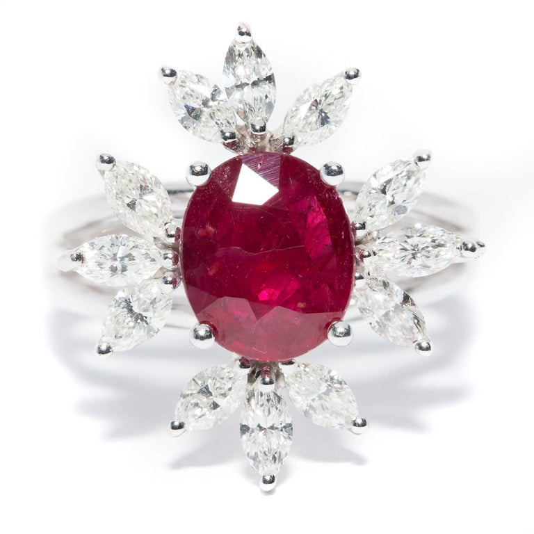 Bespoke White Marquise Diamond 18KT Gold 2.00 Carat Ruby Engagement Ring Mount In New Condition For Sale In London, GB
