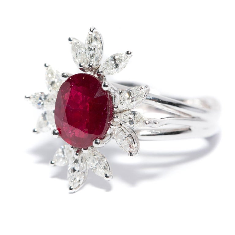 Marquise Cut Bespoke White Marquise Diamond 18KT Gold 2.00 Carat Ruby Engagement Ring Mount For Sale