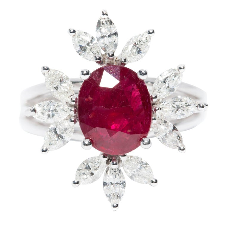 Bespoke White Marquise Diamond 18KT Gold 2.00 Carat Ruby Engagement Ring Mount For Sale