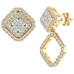0.90 CT Round Diamond Fancy 18 KT Gold Changeable Cluster Drop Earrings