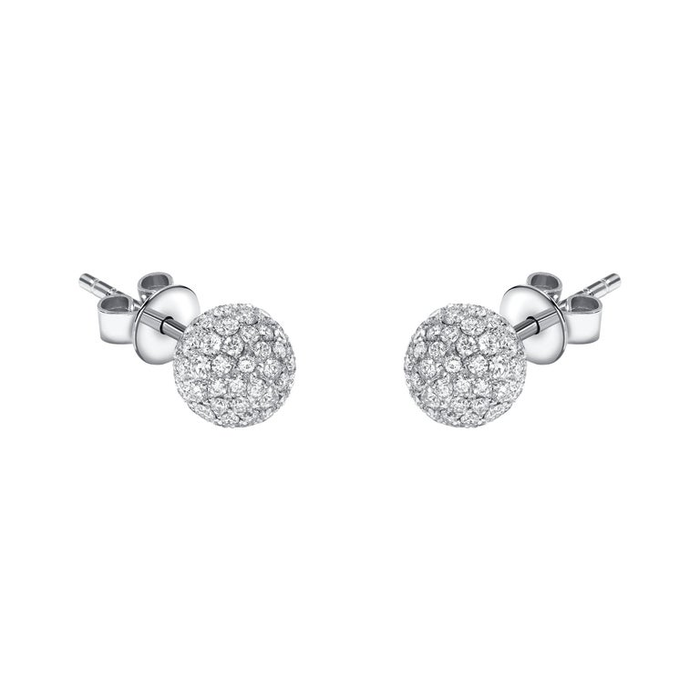 0.75 Carat Round Diamond 18 KT White Gold Pave Stud Tresor Paris Ball Earrings