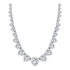 28 Carat Love Heart Diamond 18 KT White Gold Graduated Tennis Necklace