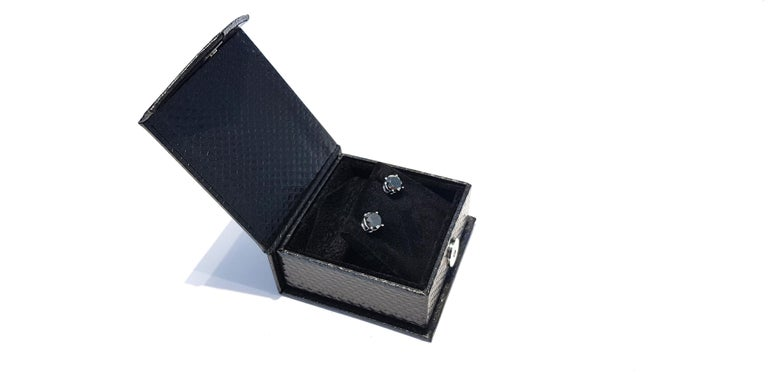 4.57 Carat Black Diamond 18 KT White Gold Solitaire Tresor Paris Stud Earrings  For Sale 2