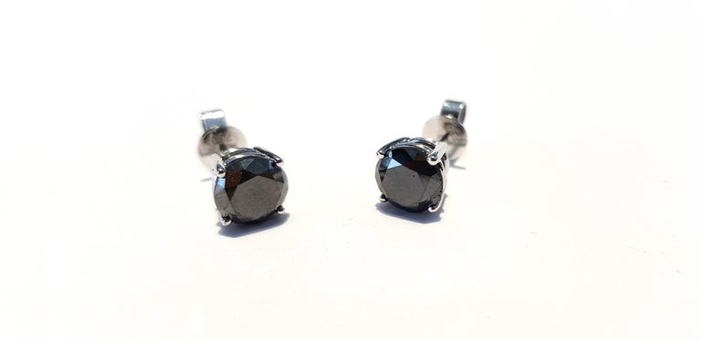 4.57 Carat Black Diamond 18 KT White Gold Solitaire Tresor Paris Stud Earrings  For Sale 5