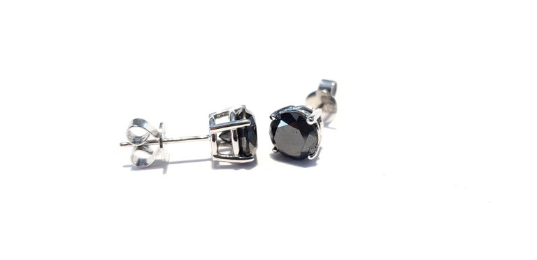 4.57 Carat Black Diamond 18 KT White Gold Solitaire Tresor Paris Stud Earrings  For Sale 6