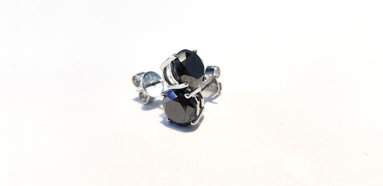 4.57 Carat Black Diamond 18 KT White Gold Solitaire Tresor Paris Stud Earrings  For Sale 7