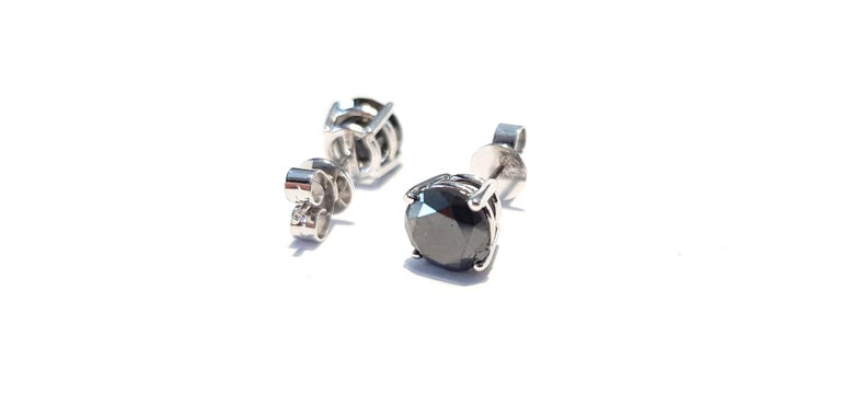 4.57 Carat Black Diamond 18 KT White Gold Solitaire Tresor Paris Stud Earrings  For Sale 8