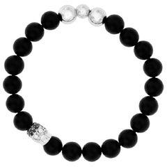 0.62 CT Round Black White Diamond Steel 18 KT Tresor Gold Skull Agate Bracelet