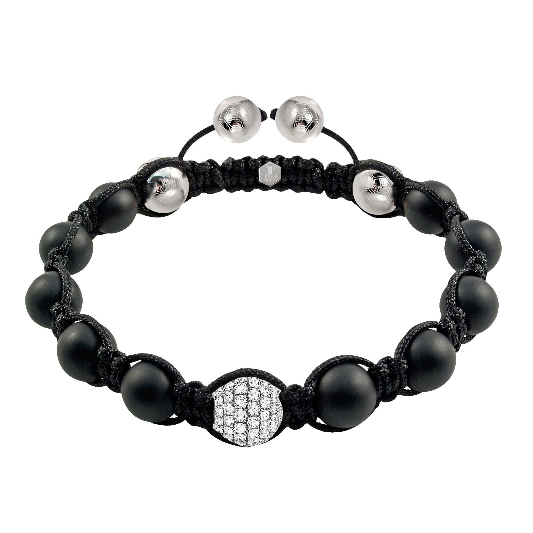 1.80 Carat Round White Diamond 18 Karat Gold Black Agate Men's Beaded Bracelet