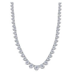 5.00 Carat Diamond Riviera Three Claws 18 Karat White Gold Tennis Line Necklace