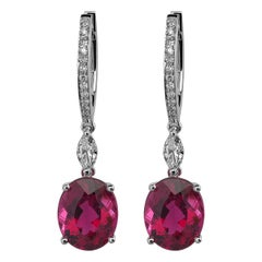 Monseo Rubellite and Diamond White Gold Drop Earrings