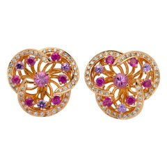 Monseo Pink and Purple Sapphires and Diamonds Flower Gold Earrings