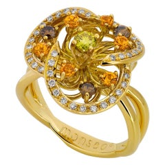 Monseo Yellow Diamond, Mandarin Garnet and Brown Diamonds Flower Gold Ring